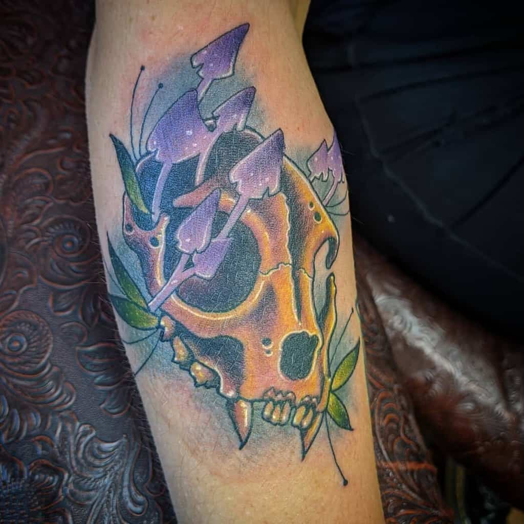 colored cat skull tattoo fortys4life