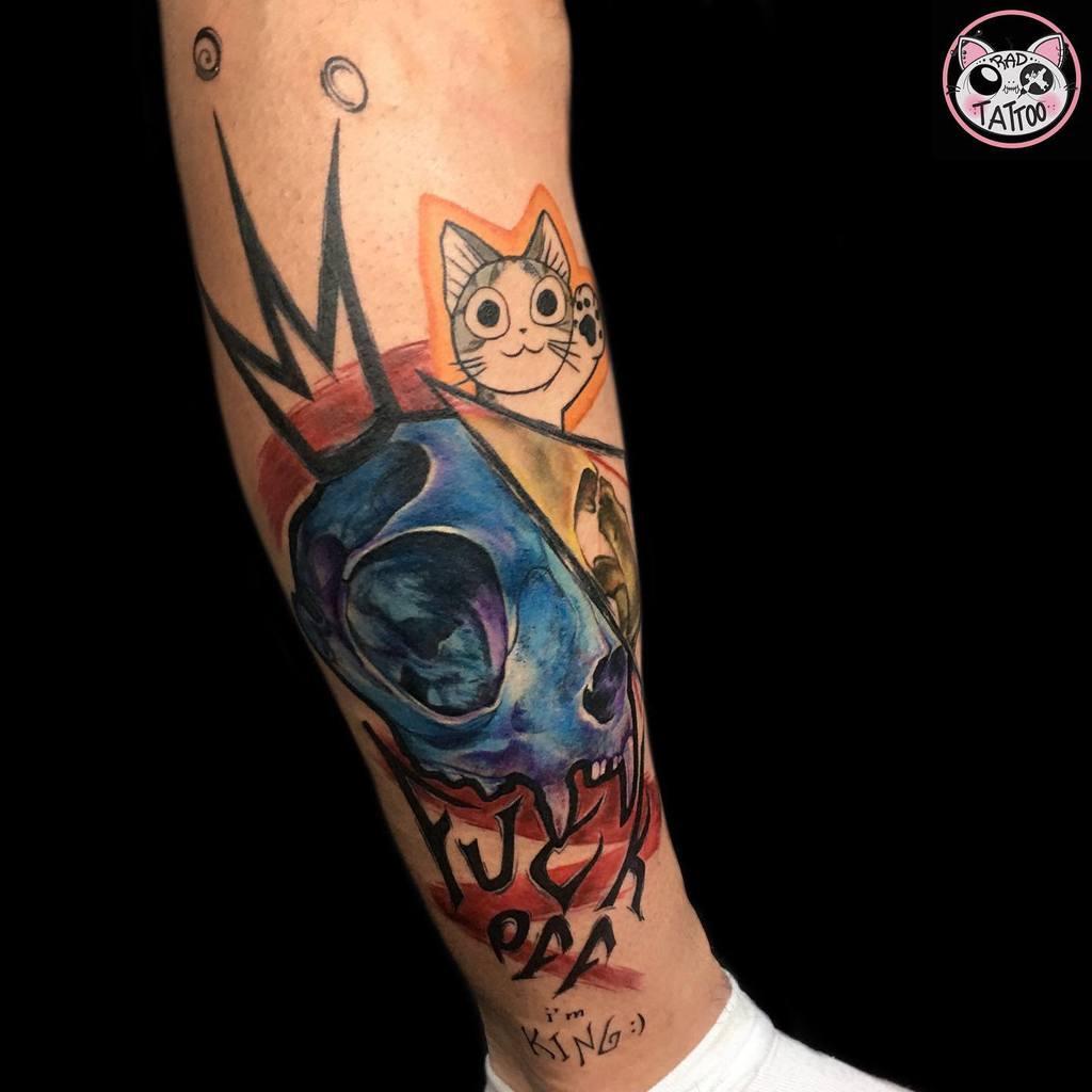 colored cat skull tattoo radtattoostudio