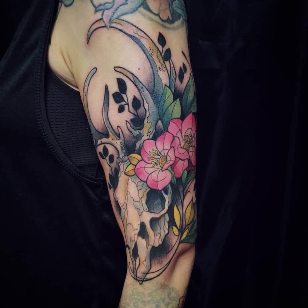 colored colored deer skull tattoo millasipola