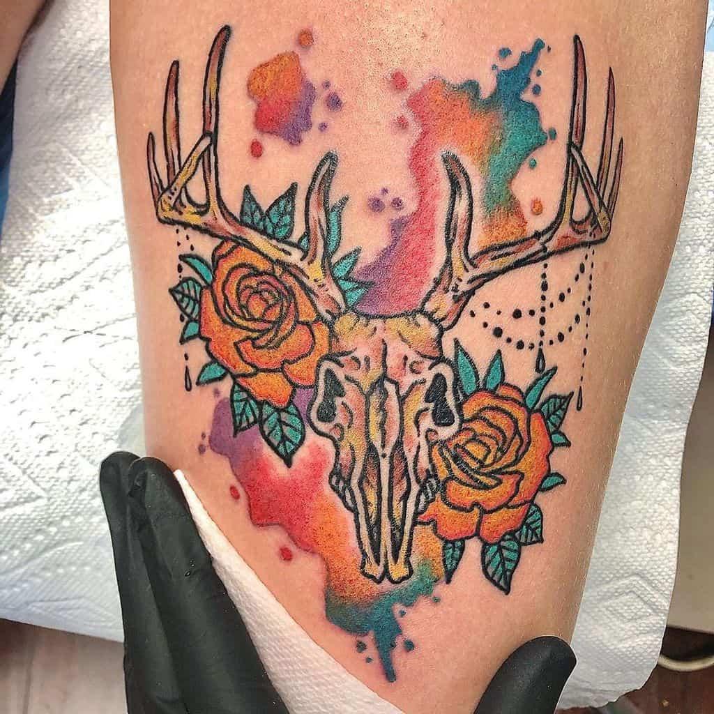 colored colored deer skull tattoo raff_leonardo