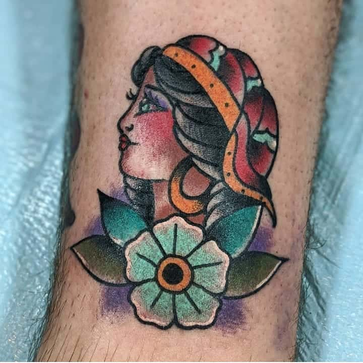 Colored Lovely Gypsy Tattoo