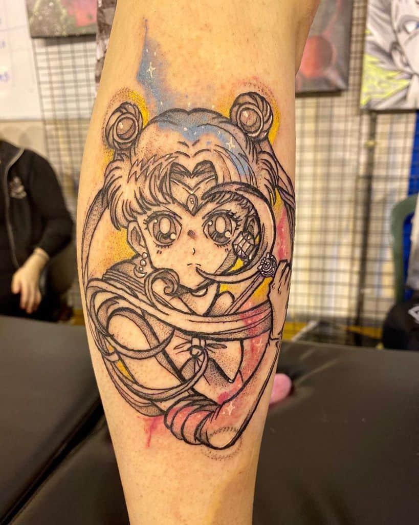 Colored Luna Sailor Moon Tattoo