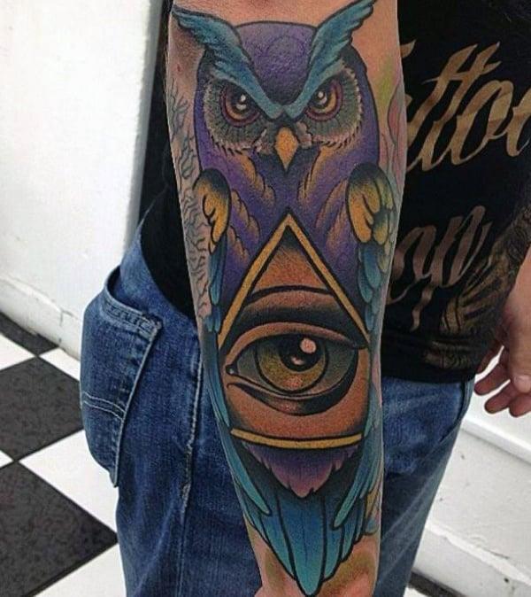 Colored Owl Illuminati Tattoo Mens Forearms