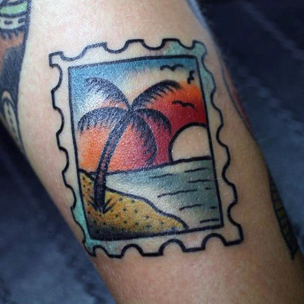 Colored Palm Tree Stamp Tattoo For Men On Arms