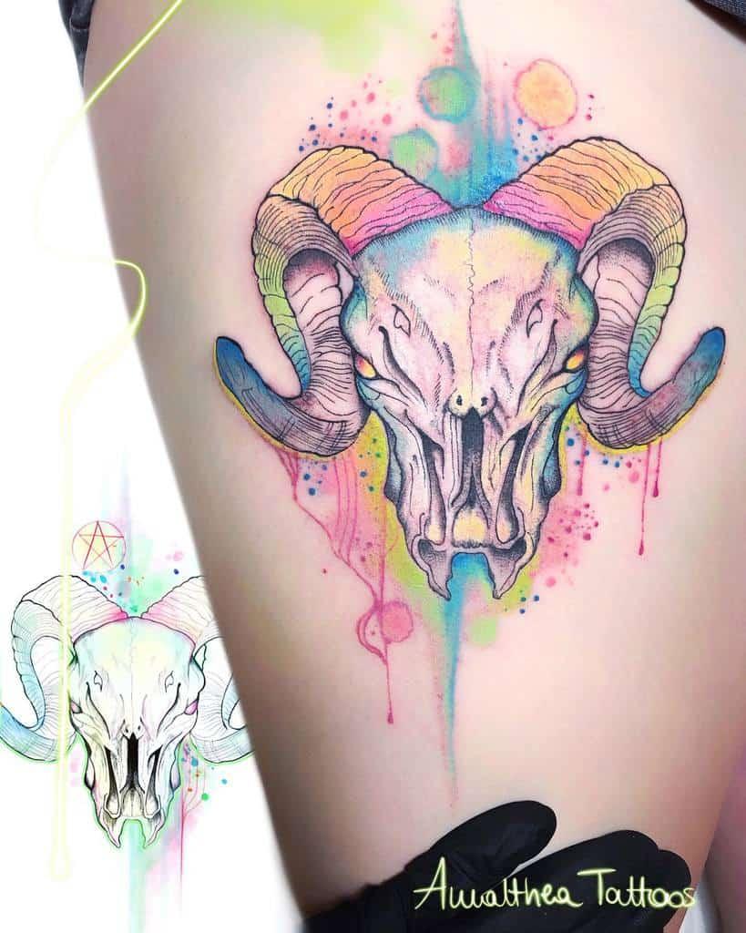 colored ram skull tattoo amaltheatattoos