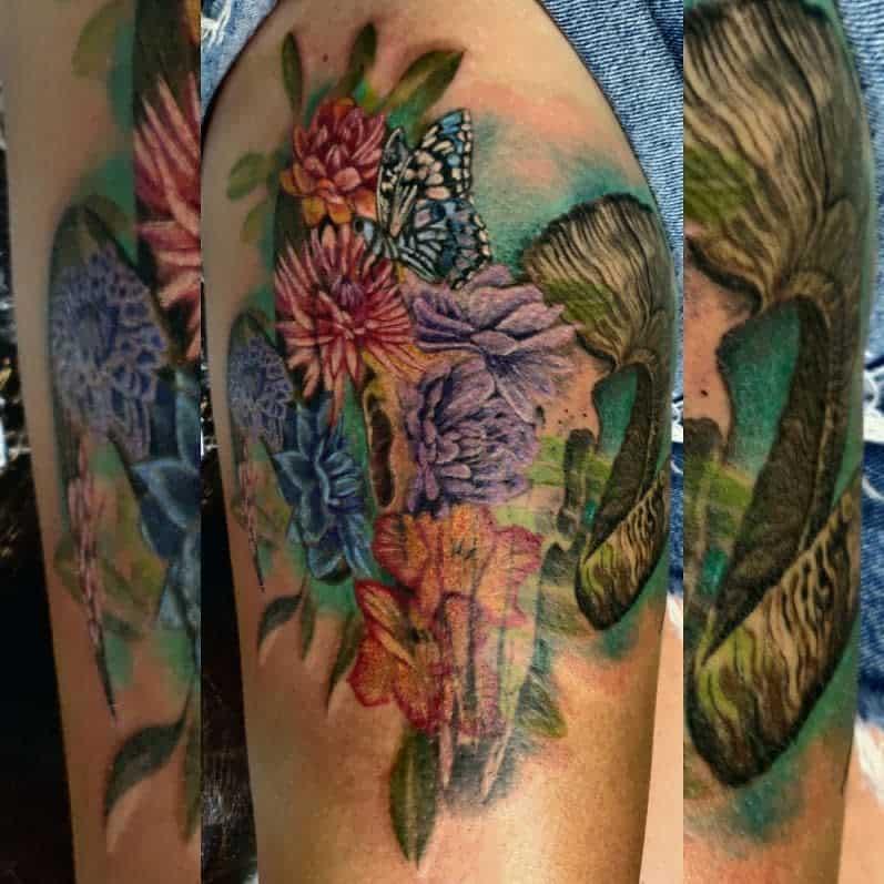 colored ram skull tattoo amanda_alzonetattoos_west