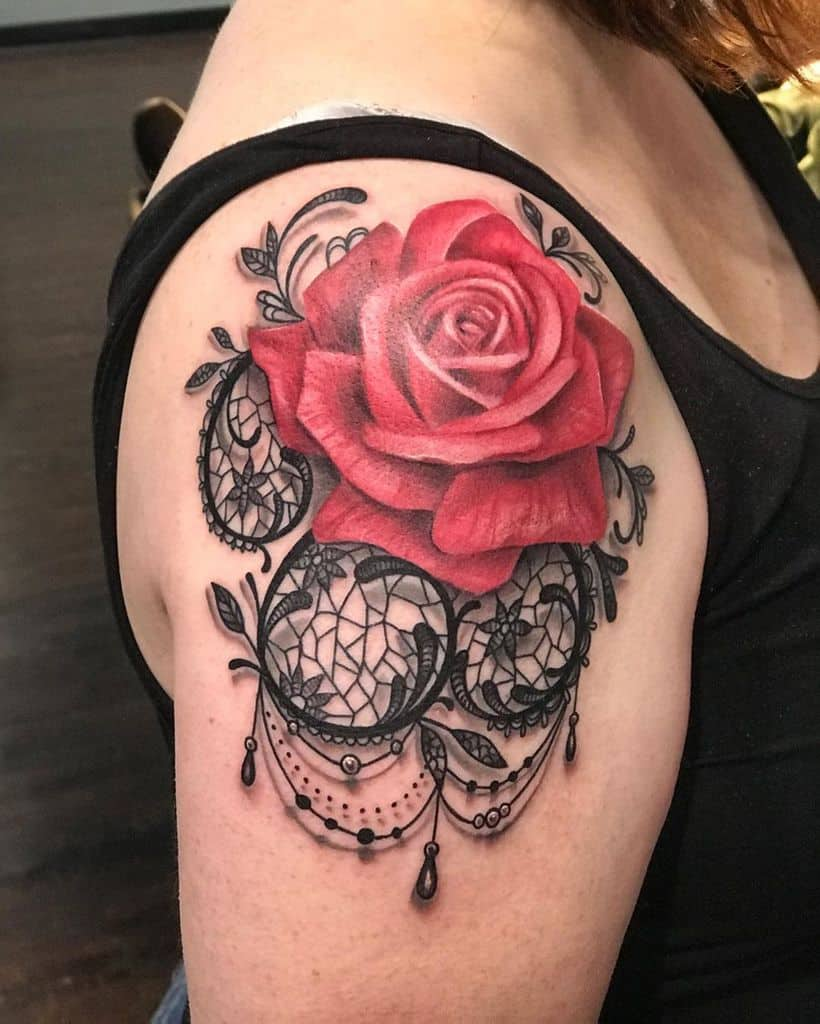 Colored Rose Lace Tattoo