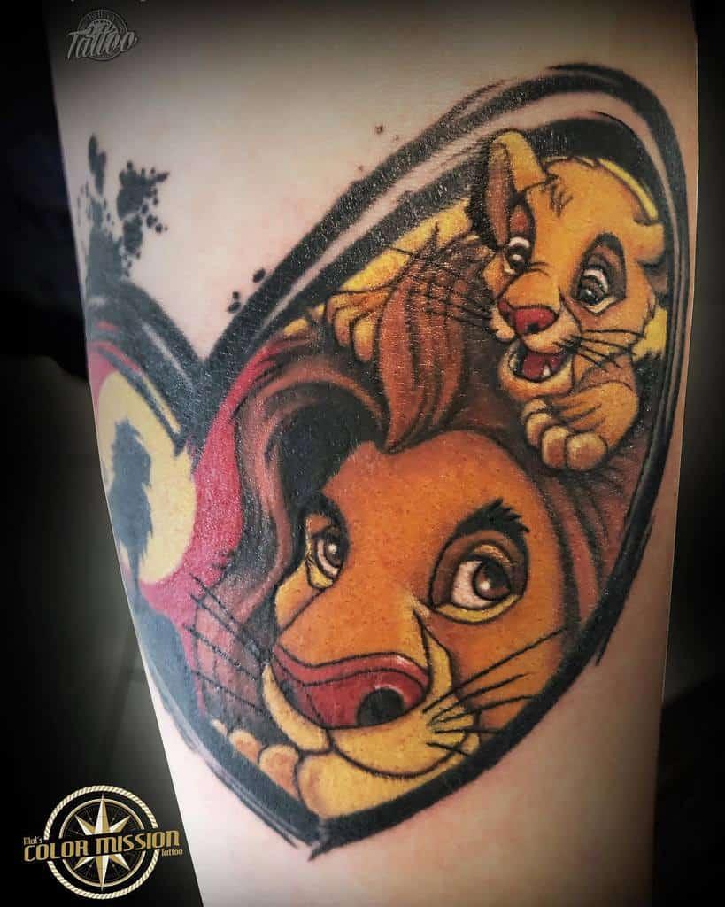 Colored Simba Tattoo Maleiketattooartist