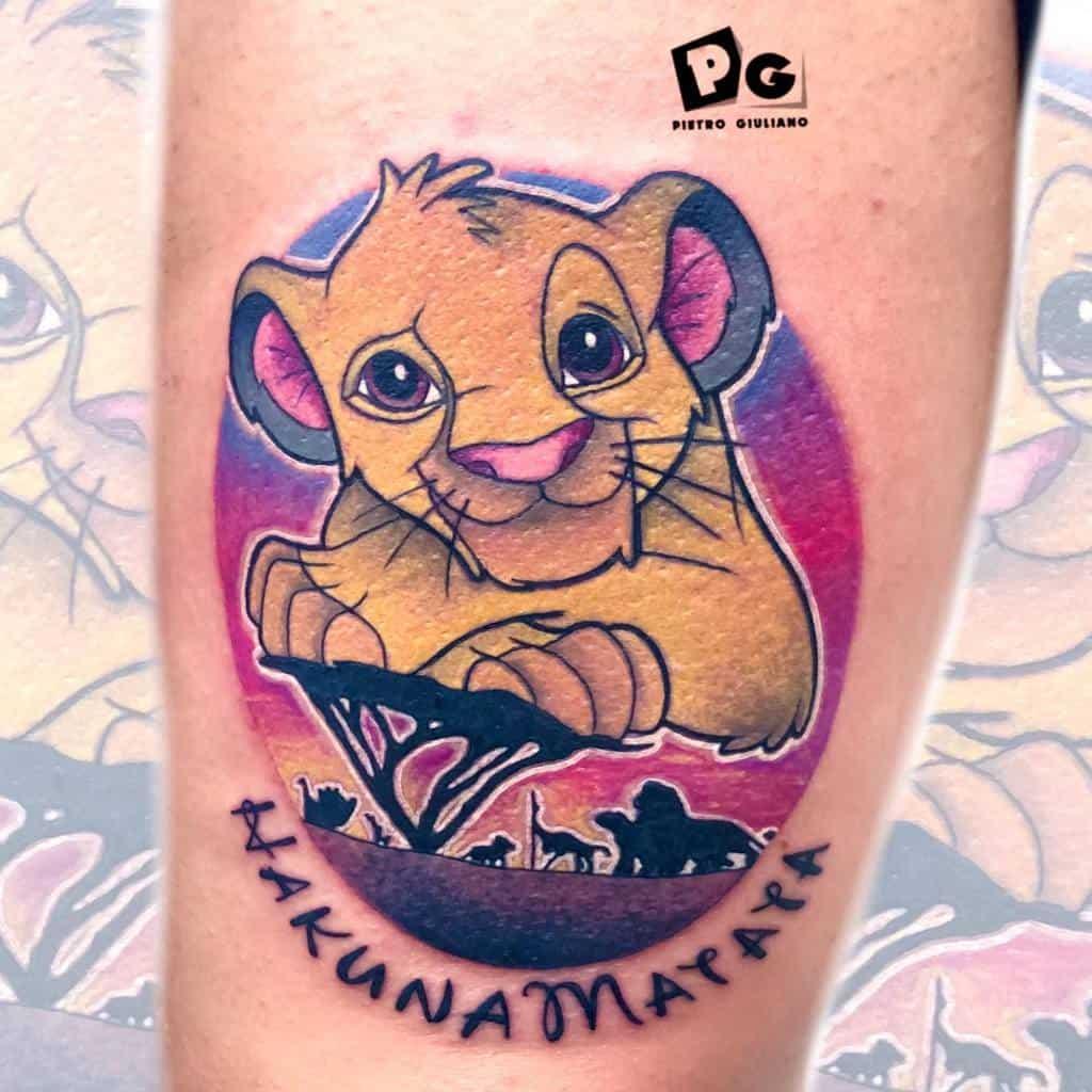 Colored Simba Tattoo Petergoldtattooer