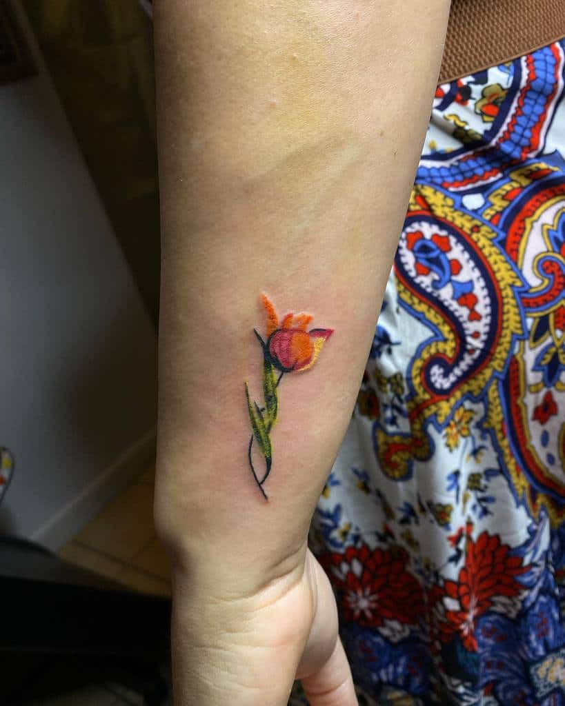 colored simple flower tattoos _olympus.tattoo_