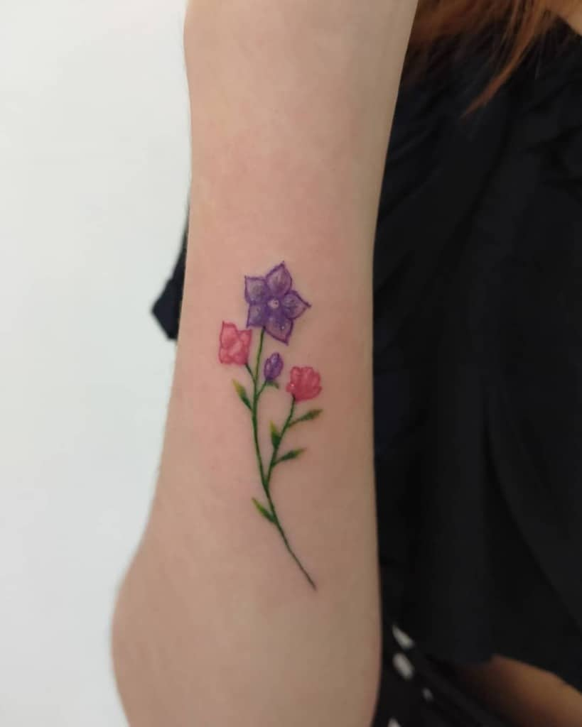 colored simple flower tattoos cahyoz