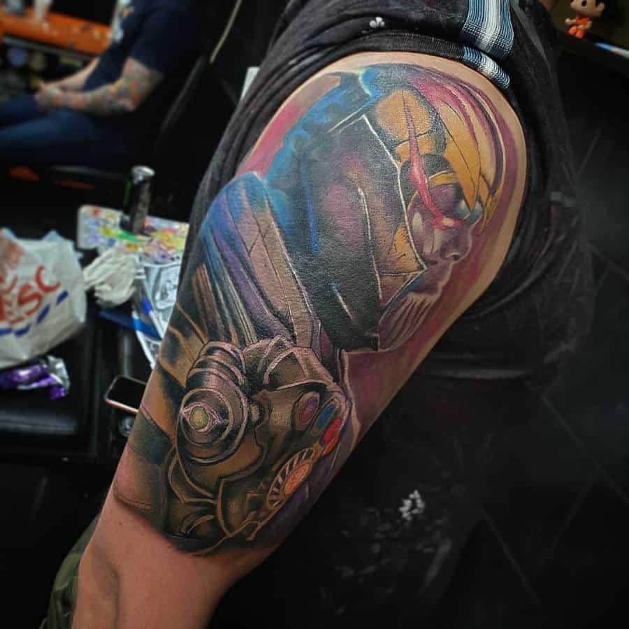 Colored Thanos Tattoo G1enghis Khan