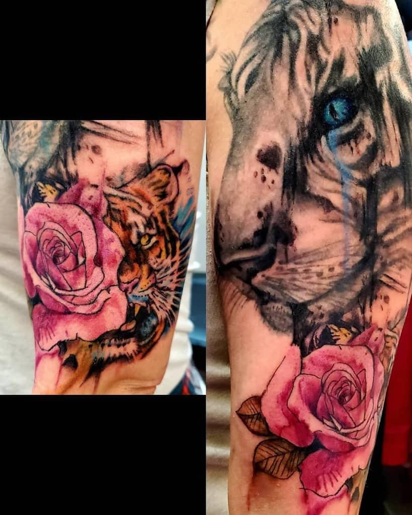 colored tiger rose tattoos cbroukztat