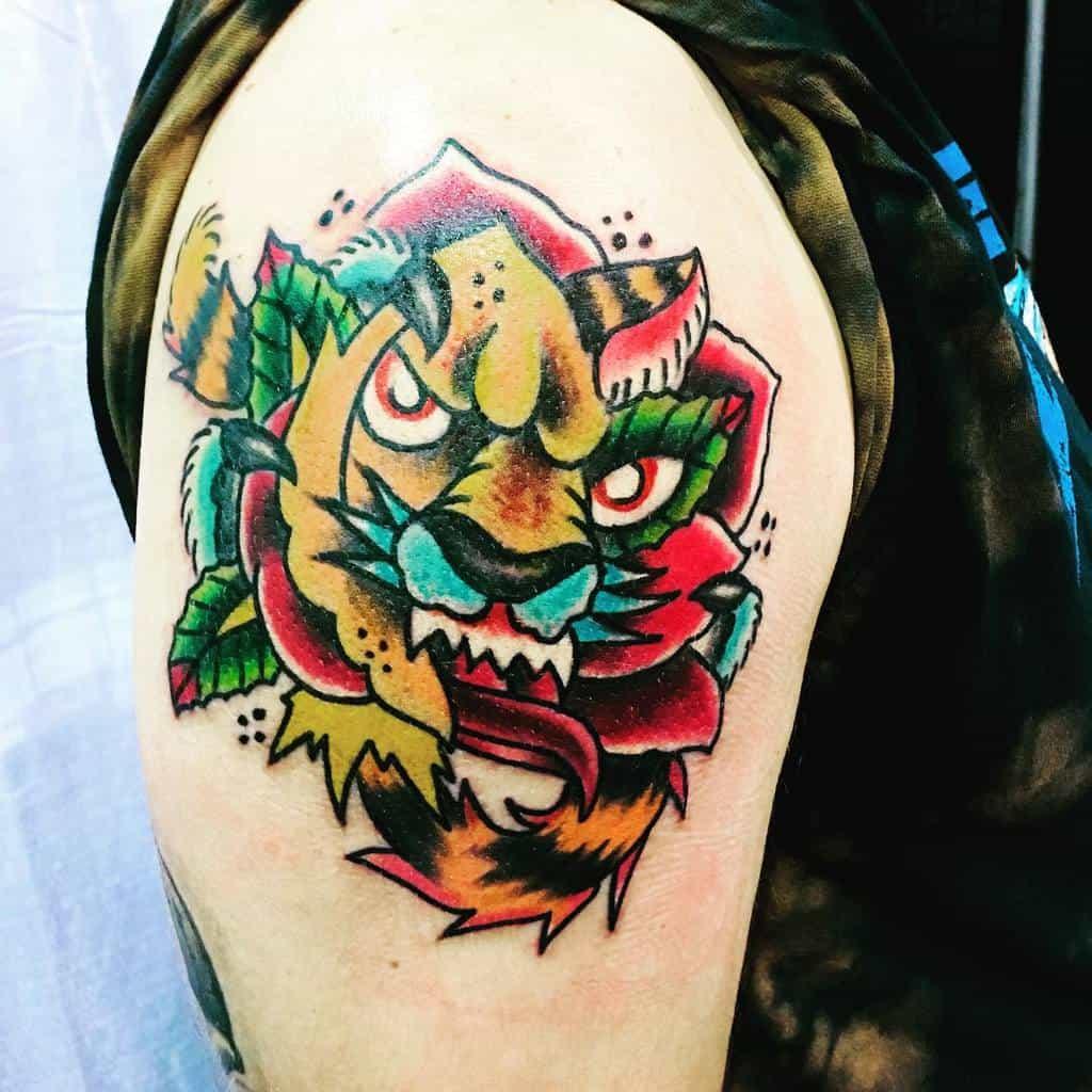 colored tiger rose tattoos donjuantattoos