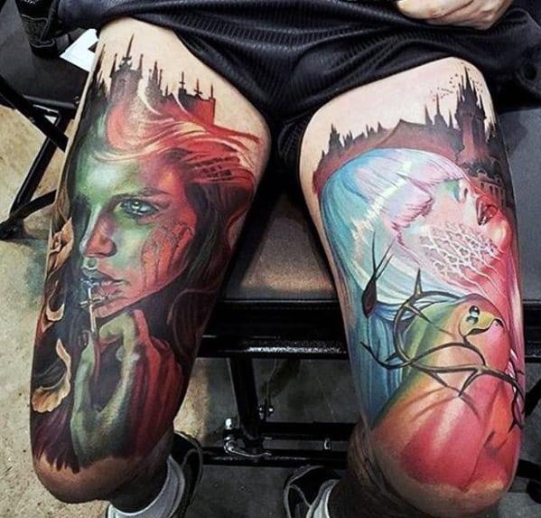 Colorful 3d Mens Artistic Thigh Legs Tattoo