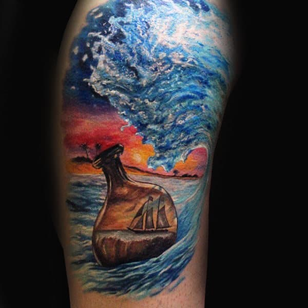 Colorful 3d Ocean Waves Ship In A Bottle Mens Arm Tattoos