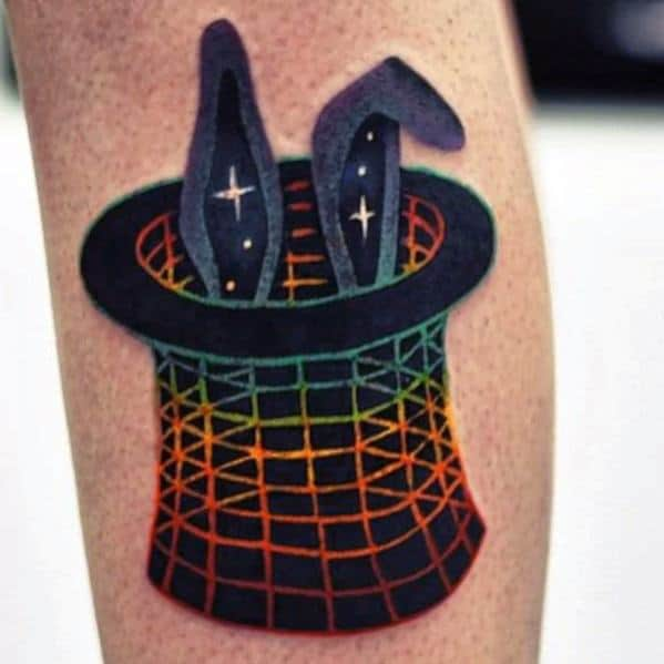 Colorful 3d Rabbit Ears Out Of Hat Trick Magician Male Tattoo Ideas