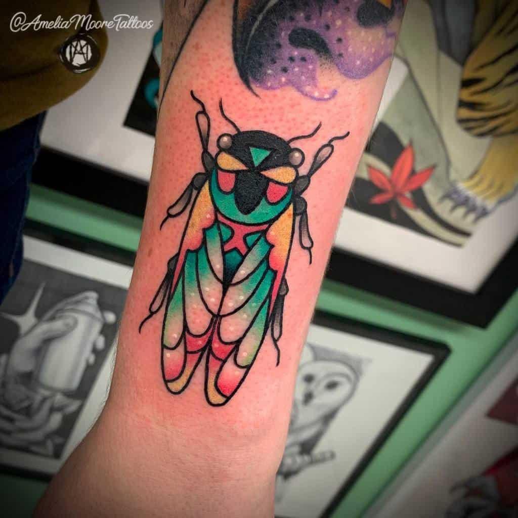 colorful Cicada Tattoos ameliamooretattoos