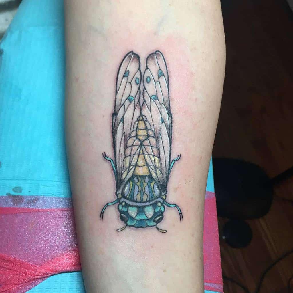 colorful Cicada Tattoos ladylisadoll