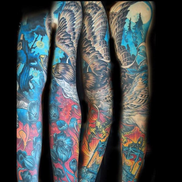 Colorful Abstract Full Sleeve Hawk Tattoo On Man