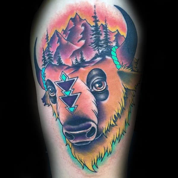 Colorful Abstract Male Bison Arm Tattoo