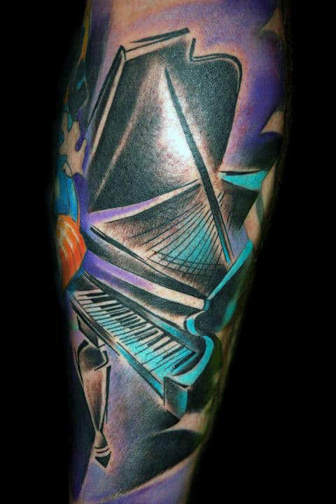 Colorful Abstract Male Piano Sleeve Tattoos