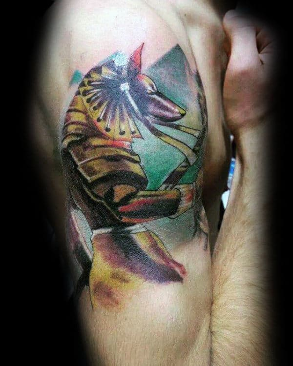 Colorful Anubis Upper Arm Mens Watercolor Tattoos