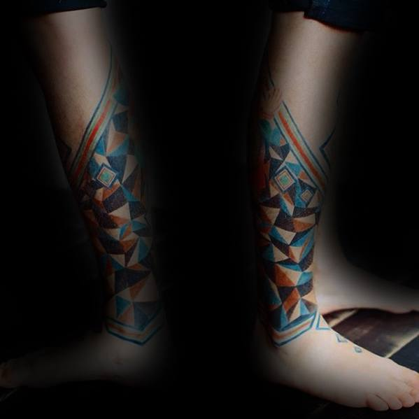 Colorful Artsy Shapes Geometric Leg Tattoo Designs For Guys