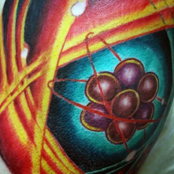Colorful Atom Mens Arm Tattoo Ideas