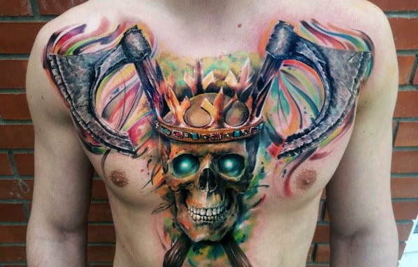 Colorful Axe Skull Guys King Chest Tattoos