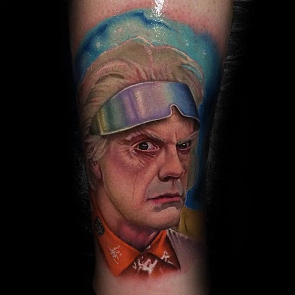 Colorful Back To The Future Mens Doc Brown Portrait Tattoo On Leg