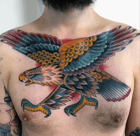 Colorful Bald Eagle Mens Traditional Tattoo On Chest