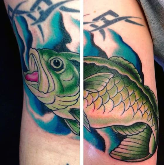 Colorful Bass Bicep Tribal Tattoo On Man