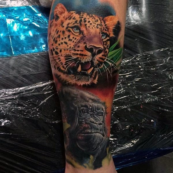 Colorful Big Cat With Gorilla Mens Leg Tattoo
