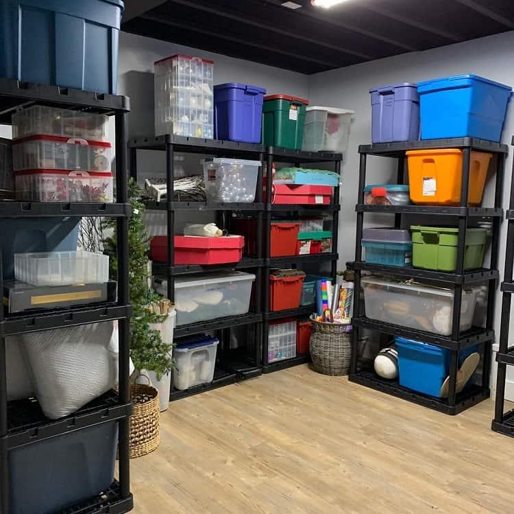 Colorful Bins Shelf Basement Storage