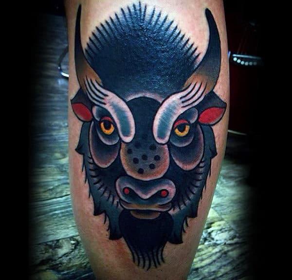 Colorful Bison Leg Calf Guys Tattoos