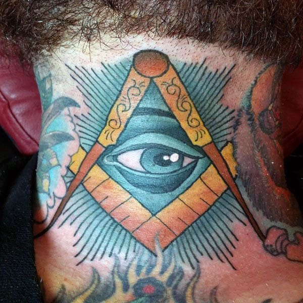 Colorful Blue All Seeing Eye With Gold Square And Compass Mens Masonic Neck Tattoos