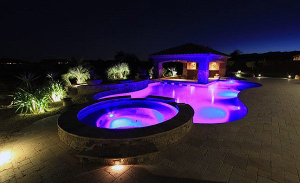 Colorful Blue And Pink Cool Pool Lighting Design Ideas