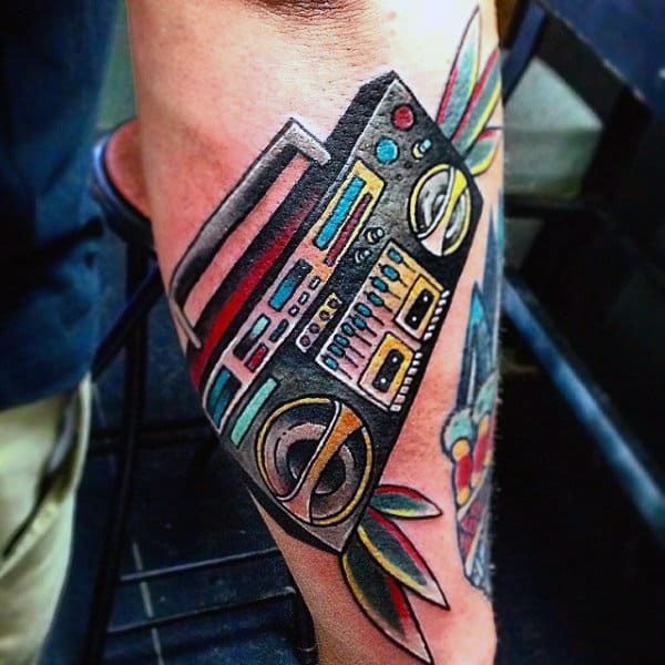 Colorful Boombox Mens Outer Forearm Tattoo