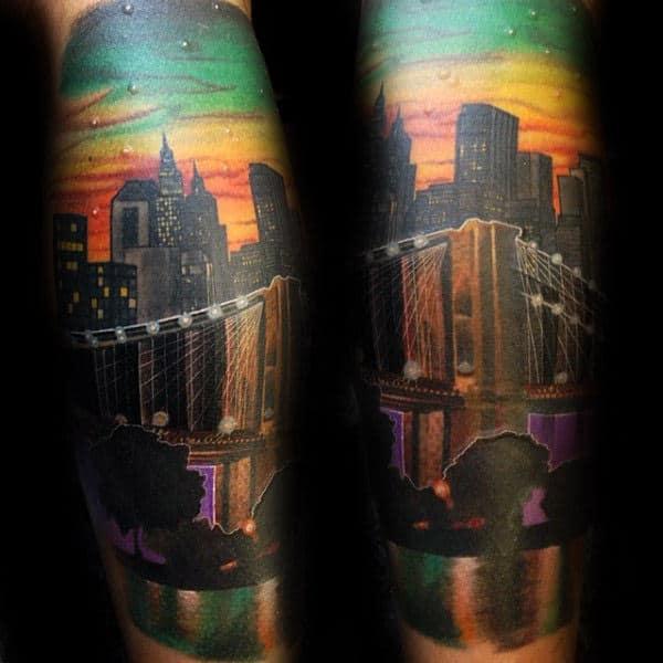 Colorful Brooklyn Bridge Tattoo Sleeves For Guys