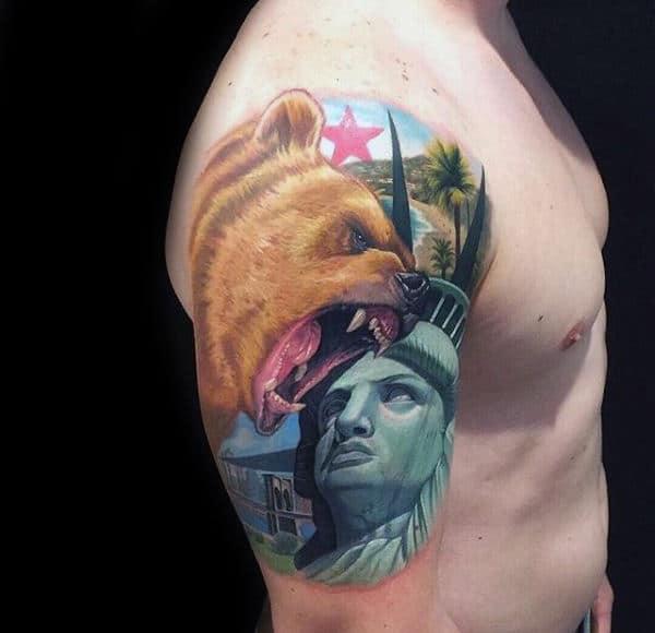 Colorful California Bear Animal Half Sleeve Tattoo For Guys