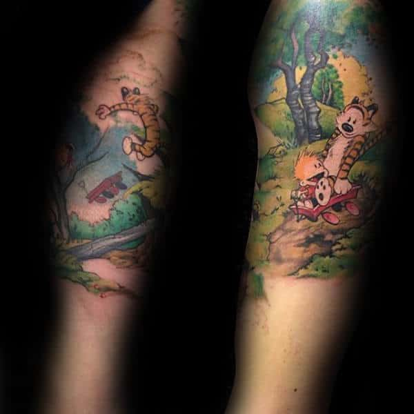 Colorful Calvin And Hobbes Mens Arm Tattoo