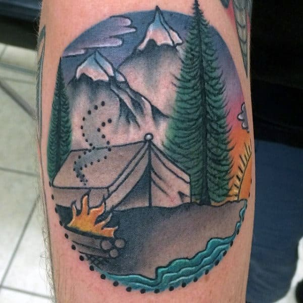 Colorful Campsite In Forest Tattoo And Dotted Edge On Forearm On Male