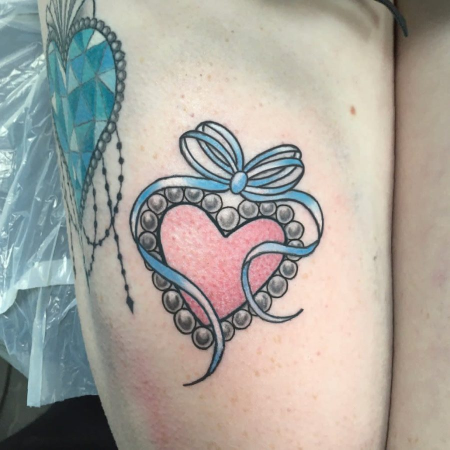 Colorful Candy Heart Womens Tattoo