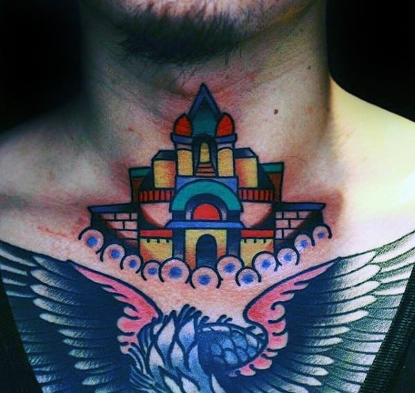 Colorful Castle Mens Small Front Of Neck Tattoo Ideas