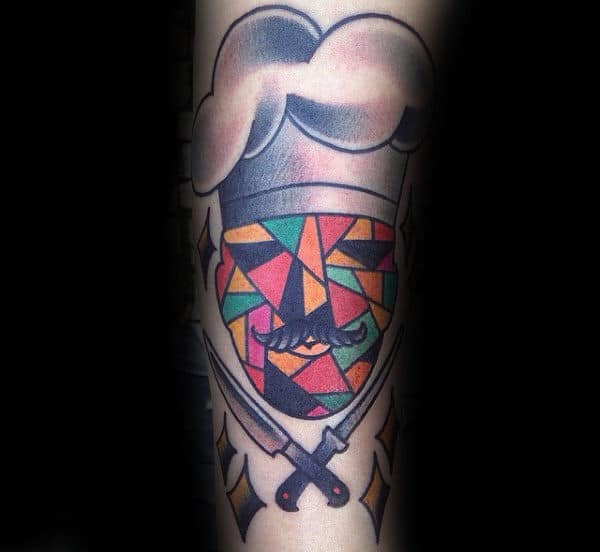 Colorful Chef Culinary Tattoo Male Forearms