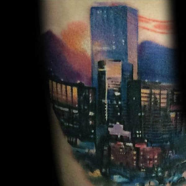 Colorful City Skyline Mens Arm Tattoos