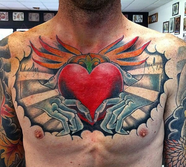 Colorful Claddagh Red Heart Male Chest Tattoo