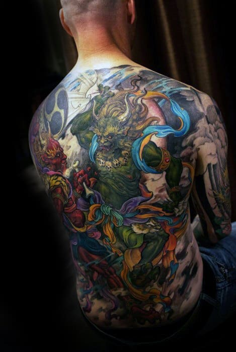 Colorful Cool Guys Full Back Tattoo Inspiration