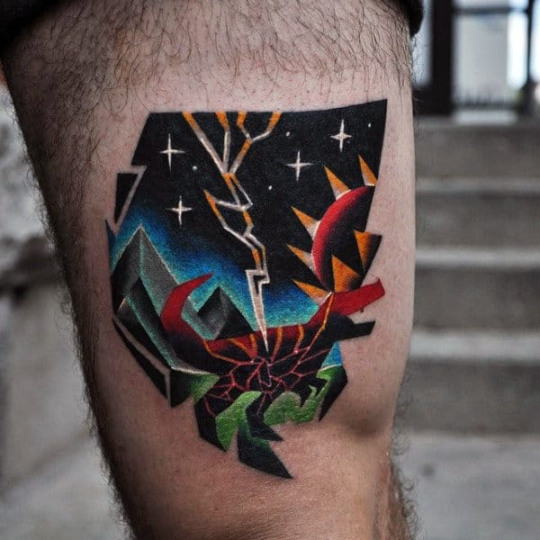 Colorful Crab Abstract Amazing Mens Thigh Tattoos